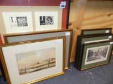 A GROUP OF FIVE PRINTS BY SARAH YOUNG, TWO 20th.C.WATERCOLOURS AND FOUR FURTHER PRINTS.