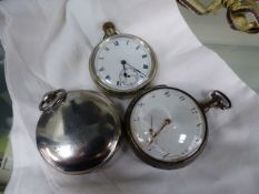 A GEO.III.SILVER POCKET WATCH AND TWO OTHERS.
