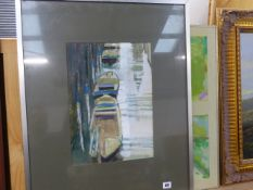 A WATERCOLOUR SIGNED PELL AND AN ABSTRACT OIL PAINTING.