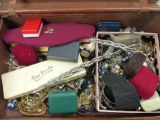 A TRAVEL SUITCASE FULL OF VINTAGE AND MODERN COSTUME JEWELLERY.