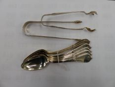A SET OF SIX A.J.ROBINSON STERLING TEA SPOONS, AND TWO PAIRS OF SUGAR NIPS.