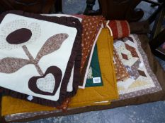 VARIOUS QUILTED CUSHION COVERS,ETC.