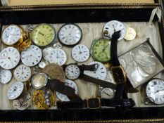 A SELECTION OF WRISTWATCHES AND POCKET WATCHES TO INCLUDE MOVEMENTS AND LOOSE PARTS.
