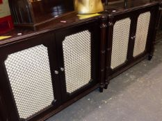 A PAIR OF REGENCY STYLE SIDE CABINETS.