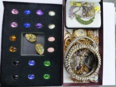 A QTY OF JEWELLERY TO INCLUDE A JOAN RIVERS INTERCHANGEABLE EARRING ET, FOB WATCHES, 9ct GOLD,