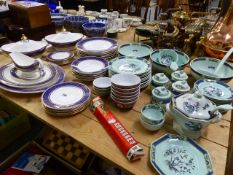 A ROYAL DOULTON IMPERIAL BLUE DINNER SERVICE AND AN ADAMS CALIXWARE PART DINNER SERVICE.