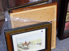 A QTY OF HUNTING AND SPORTING PRINTS.