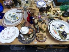 VARIOUS CHINA, GLASS AND ORNAMENTS.