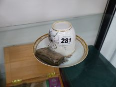 A 19th.C.TEA CUP AND SAUCER TOGETHER WITH A SILVER SNUFF BOX.
