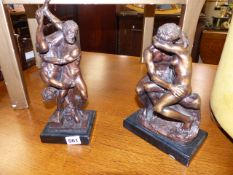 TWO CLASSICAL STYLE BRONZE FIGURES ON SLATE BASES.