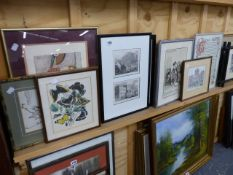 A QTY OF VARIOUS ANTIQUE AND DECORATIVE PRINTS.