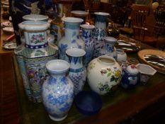 A QTY OF ORIENTAL VASES.