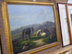 A GILT FRAMED PAINTING DONKEY AND SHEEP.