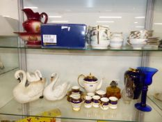 AN EDWARDIAN COFFEE SET AND OTHER CHINAWARES.