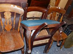 A CARVED OCCASIONAL TABLE, A BERNARES TABLE, WALL SHELF AND FOUR CHAIRS.