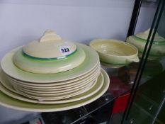 A CLARICE CLIFF PART DINNER SERVICE.