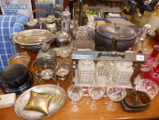 A QTY OF PLATEDWARE, GLASSWARE,ETC.