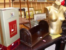 A BAKELITE BOOK TROUGH, A DUNHILL SIGN AND A MANNEQUIN.