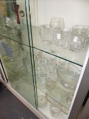 A QTY OF CUT AND OTHER GLASSWARE.