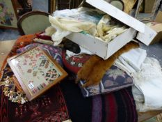 A QTY OF ANTIQUE AND LATER CUSHIONS AND TEXTILES.