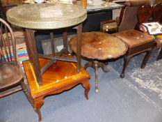 A WALNUT TRIPOD TABLE, AN ARTS AND CRAFTS MIRROR, PIANO STOOL,ETC.