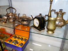 A QTY OF SILVER PLATEDWARES, A CHINOISERIE CLOCK,ETC.