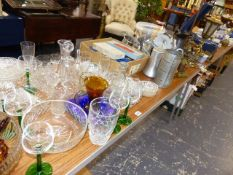A QTY OF GLASSWARE, CUTLERY, COPPERWARES,ETC.