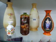 A PAIR OF DEVON WARE BUD VASES, AN AYNSLEY VASE AND TWO OTHERS.