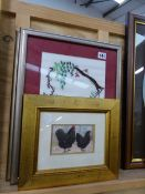TWO SILK PICTURES AND A PRINT OF CHICKENS.