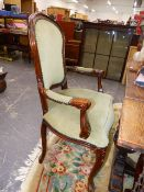 A SET OF SIX FRENCH STYLE DINING CHAIRS.