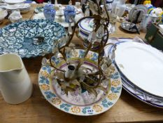 A QTY OF POTTERY PLATES, CHANDELIER,ETC.