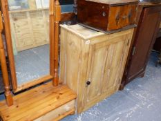 A VICTORIAN MAHOGANY SMALL CABINET, A PINE CABINET AND A CHEVAL MIRROR.