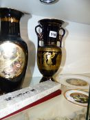 BOXED WADE WHIMSIES TWO ORIENTAL PLATES, A GREEK VASE,ETC.