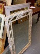 A MARGINAL FRAMED MIRROR AND A PAINTED FRAMED MIRROR.
