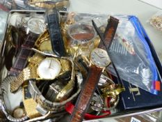 A BOX OF VARIOUS WATCHES.