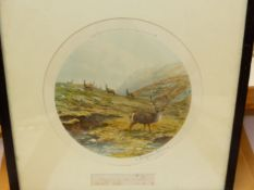 AFTER V.BALFOUR-BROWNE. (1880-1963) THREE COLOUR PRINTS OF DEER IN THE HIGHLANDS, EACH PENCIL