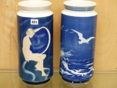 TWO COPENHAGEN CYLINDRICAL VASES, ONE DECORATED WITH SEAGULLS FLYING OVER WAVES AND THE OTHER WITH