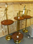 A SET OF FOUR BESPOKE BRASS STANDARD LAMPS, EACH ADJUSTABLE FOR HEIGHT AND WITH FITTED MAHOGANY