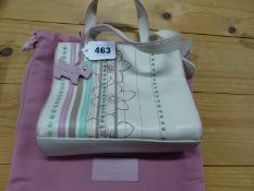 A RADLEY CREAM LEATHER HANDBAG SEWN WITH FLOWER HEADS AND TURQUOISE, PINK AND BROWN LEATHER BANDS