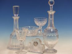 ORREFORS, VAL ST LAMBERT AND OTHER MAKERS, A COLLECTION OF GLASS TO INCLUDE BOWLS, DECANTERS,