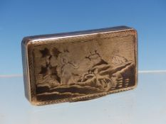 A RUSSIAN SILVER AND NIELLO SNUFF BOX BEARING THE DATE 1885, THE RECTANGULAR HINGED LID AND BASE