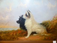 W.WARREN. LATE 19th.C.ENGLISH SCHOOL. TWO PORTRAITS OF DOGS, A RETRIEVER AND TWO TERRIERS, SIGNED