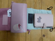 A RADLEY PINK LEATHER FILOFAX AND PEN, A PINK LEATHER WALLET AND CARD CASE TOGETHER WITH THEIR COVER
