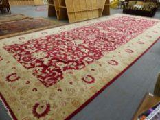 AN IMPRESSIZE ORIENTAL CARPET OF PERSIAN ZEIGLER DESIGN 890 x 370cms.
