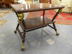 AN UNUSUAL 19th.C.MAHOGANY CENTRE TABLE WITH UNDERTIER, ANGLED BARLEY TWIST SUPPORTS MOUNTED WITH
