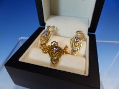 A 9ct GOLD OPEN WORK DIAMOND AND GEMSTONE PENDANT AND EARRING SET. GROSS WEIGHT 6.5grms.