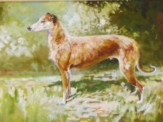 MICHAEL LYNE. (1912-1989) ARR. PORTRAIT OF A LURCHER, SPRING, SIGNED AND DATED 1950, GOUACHE. 34 x