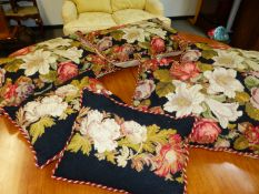 SIX NEEDLEPOINT SCATTER CUSHIONS.ALL OF SIMILAR FLORAL DESIGN