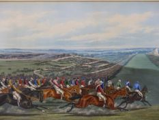 AFTER HENRY ALKEN. A PAIR OF HAND COLOURED FOLIO HORSE RACING PRINTS. 42 x 75cms. (2)