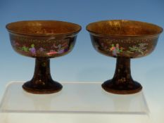 A PAIR OF CHINESE LAC BURGAUTE STEM CUPS, THE BLACK EXTERIORS INLAID WITH MOTHER OF PEARL FIGURES IN
